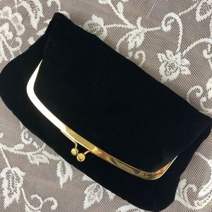 VNTG Ingber~ Black Velvet fold over clutch